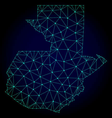 Polygonal mesh map of Guatemala. Abstract mesh lines, triangles and points on dark background with map of Guatemala. Wire frame 2D polygonal line network in vector format on a dark blue background.
