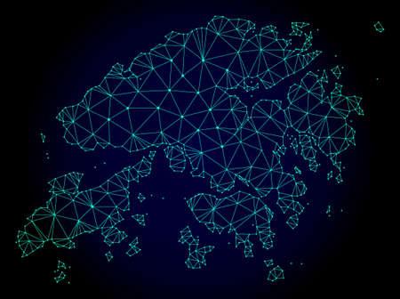 Mapa de malla poligonal de Hong Kong. Líneas de malla abstractas, triángulos y puntos sobre fondo oscuro con mapa de Hong Kong. Red de líneas poligonales 2D de estructura de alambre en formato vectorial sobre un fondo azul oscuro. Ilustración de vector