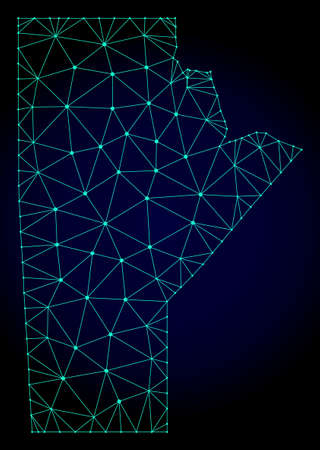 Polygonal mesh map of Manitoba Province. Abstract mesh lines, triangles and points on dark background with map of Manitoba Province.