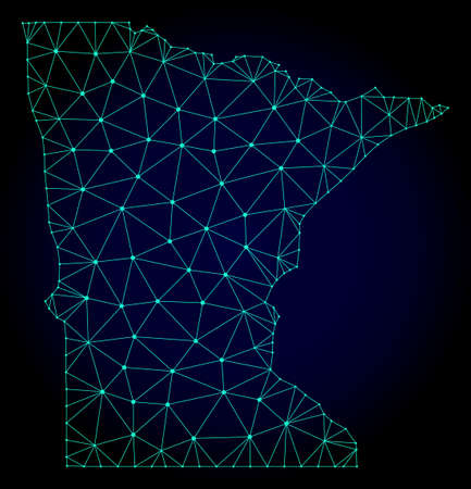 Polygonal mesh map of Minnesota State. Abstract mesh lines, triangles and points on dark background with map of Minnesota State.