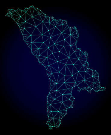 Polygonal mesh map of Moldova. Abstract mesh lines, triangles and points on dark background with map of Moldova. Wire frame 2D polygonal line network in vector format on a dark blue background.