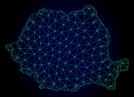 Polygonal mesh map of Romania. Abstract mesh lines, triangles and points on dark background with map of Romania. Wire frame 2D polygonal line network in vector format on a dark blue background.