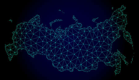 Polygonal mesh map of Russia. Abstract mesh lines, triangles and points on dark background with map of Russia. Wire frame 2D polygonal line network in vector format on a dark blue background.