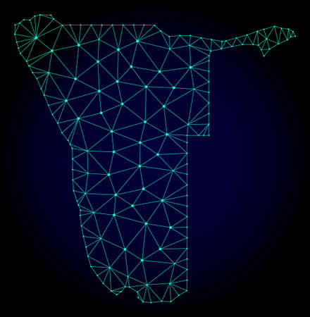 Polygonal mesh map of Namibia. Abstract mesh lines, triangles and points on dark background with map of Namibia. Wire frame 2D polygonal line network in vector format on a dark blue background.