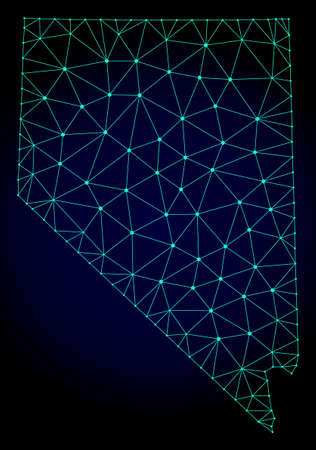 Polygonal mesh map of Nevada State. Abstract mesh lines, triangles and points on dark background with map of Nevada State.