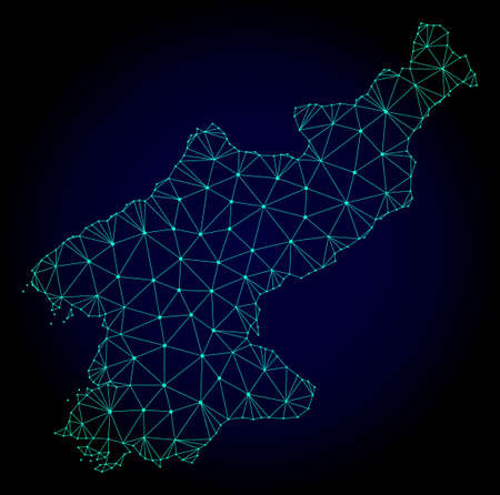 Polygonal mesh map of North Korea. Abstract mesh lines, triangles and points on dark background with map of North Korea. Иллюстрация