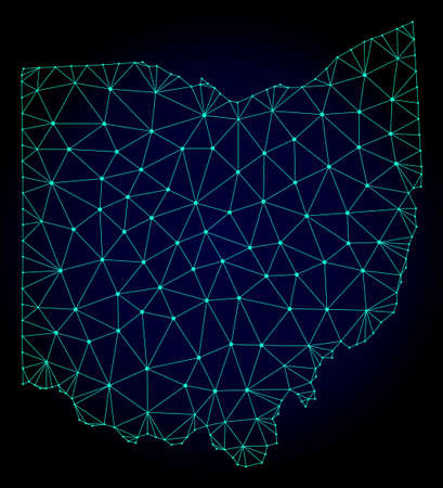 Polygonal mesh map of Ohio State. Abstract mesh lines, triangles and points on dark background with map of Ohio State. Wire frame 2D polygonal line network in vector format on a dark blue background. Illustration