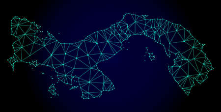 Polygonal mesh map of Panama. Abstract mesh lines, triangles and points on dark background with map of Panama. Wire frame 2D polygonal line network in vector format on a dark blue background. Illustration