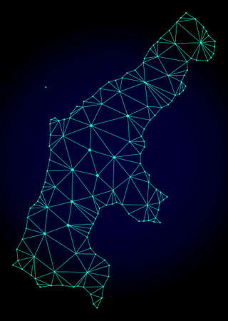 Polygonal mesh map of Saipan Island. Abstract mesh lines, triangles and points on dark background with map of Saipan Island.