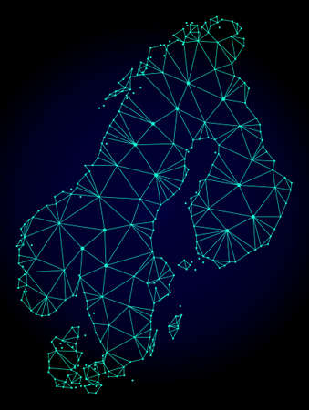 Polygonal mesh map of Scandinavia. Abstract mesh lines, triangles and points on dark background with map of Scandinavia.