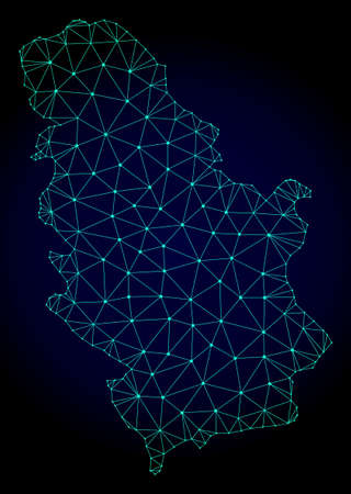 Polygonal mesh map of Serbia. Abstract mesh lines, triangles and points on dark background with map of Serbia. Wire frame 2D polygonal line network in vector format on a dark blue background.