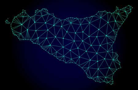 Mappa a maglia poligonale dell'isola di Sicilia. Linee di maglia astratte, triangoli e punti su sfondo scuro con mappa dell'isola di Sicilia.