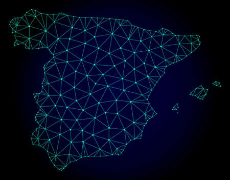 Polygonal mesh map of Spain. Abstract mesh lines, triangles and points on dark background with map of Spain. Wire frame 2D polygonal line network in vector format on a dark blue background. Иллюстрация
