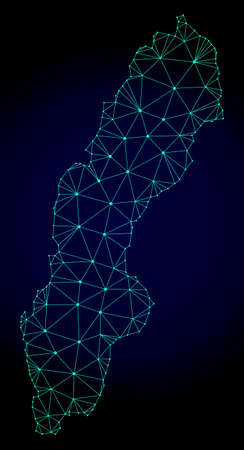 Polygonal mesh map of Sweden. Abstract mesh lines, triangles and points on dark background with map of Sweden. Wire frame 2D polygonal line network in vector format on a dark blue background.