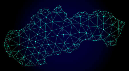 Polygonal mesh map of Slovakia. Abstract mesh lines, triangles and points on dark background with map of Slovakia. Wire frame 2D polygonal line network in vector format on a dark blue background.