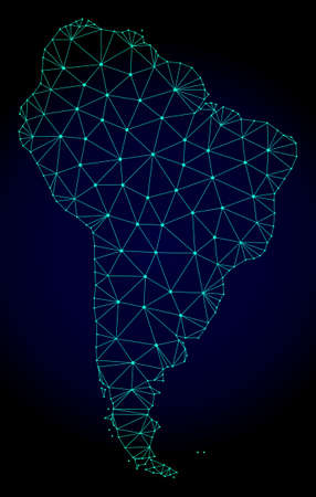 Polygonal mesh map of South America. Abstract mesh lines, triangles and points on dark background with map of South America.