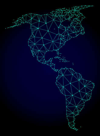 Polygonal mesh map of South and North America. Abstract mesh lines, triangles and points on dark background with map of South and North America. Illustration