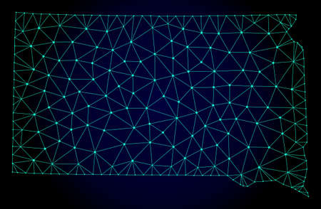 Polygonal mesh map of South Dakota State. Abstract mesh lines, triangles and points on dark background with map of South Dakota State.