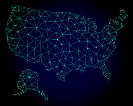 Polygonal mesh map of USA and Alaska. Abstract mesh lines, triangles and points on dark background with map of USA and Alaska. Иллюстрация