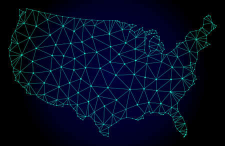 Polygonal mesh map of USA. Abstract mesh lines, triangles and points on dark background with map of USA. Wire frame 2D polygonal line network in vector format on a dark blue background.