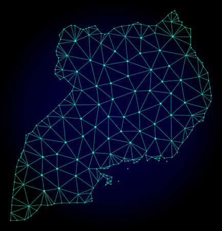 Polygonal mesh map of Uganda. Abstract mesh lines, triangles and points on dark background with map of Uganda. Wire frame 2D polygonal line network in vector format on a dark blue background.