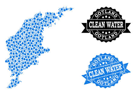 Map of Gotland Island vector mosaic and clean water grunge stamp. Map of Gotland Island composed with blue water dews. Seal with distress rubber texture for clean drinking water.