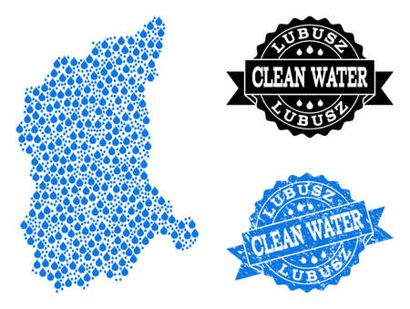 Map of Lubusz Province vector mosaic and clean water grunge stamp. Map of Lubusz Province composed with blue aqua raindrops. Seal with grunge rubber texture for clean drinking water.