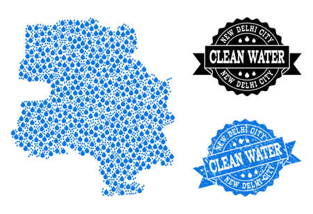 Map of New Delhi City vector mosaic and clean water grunge stamp. Map of New Delhi City composed with blue water drops. Seal with grunge rubber texture for clean drinking water.