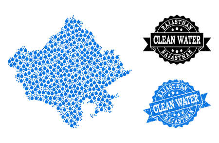 Map of Rajasthan State vector mosaic and clean water grunge stamp. Map of Rajasthan State composed with blue water drops. Seal with distress rubber texture for clean drinking water.