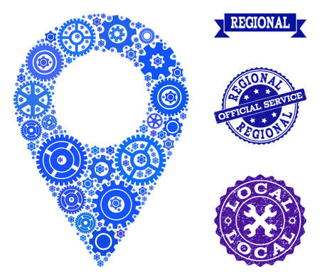 Local map marker created with blue engine items, and isolated grunge stamps for official repair services. Vector abstract mosaic of local map marker with repair symbols in blue hues. Vettoriali