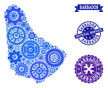 Map of Barbados composed with blue cog symbols, and isolated rubber seals for official repair services. Vector abstract mosaic of map of Barbados with work symbols in blue hues.