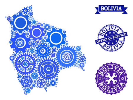 Map of Bolivia created with blue cog symbols, and isolated scratched seals for official repair services. Vector abstract mosaic of map of Bolivia with repair symbols in blue shades.  イラスト・ベクター素材