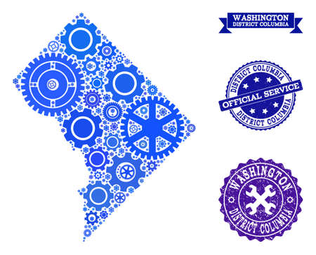 Map of District Columbia formed with blue gear symbols, and isolated scratched seals for official repair services.