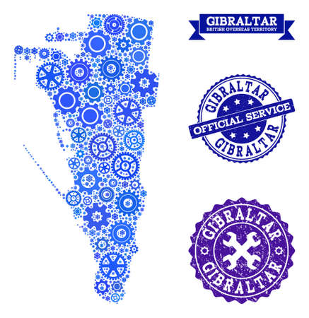 Map of Gibraltar created with blue wheel symbols, and isolated scratched watermarks for official repair services. Vector abstract mosaic of map of Gibraltar with industry symbols in blue shades.