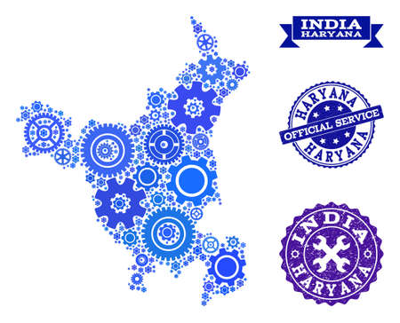 Map of Haryana State designed with blue cog items, and isolated rubber watermarks for official repair services. Vector abstract collage of map of Haryana State with repair symbols in blue color hues.