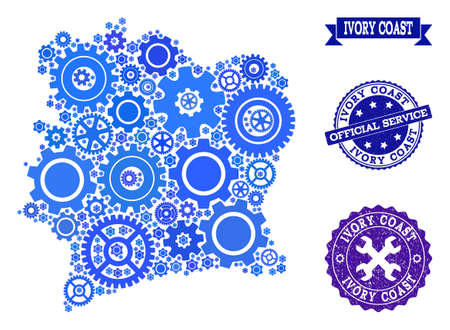 Map of Ivory Coast created with blue wheel symbols, and isolated scratched seals for official repair services. Vector abstract mosaic of map of Ivory Coast with repair symbols in blue shades.