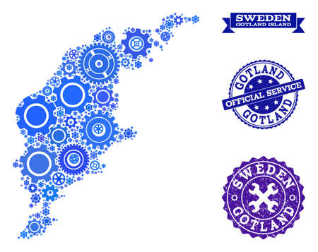 Map of Gotland Island formed with blue cog symbols, and isolated rubber stamps for official repair services.