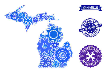 Map of Michigan State designed with blue cog symbols, and isolated grunge stamps for official repair services.