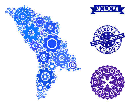 Map of Moldova created with blue gear symbols, and isolated rubber seals for official repair services. Vector abstract mosaic of map of Moldova with repair symbols in blue color tones.