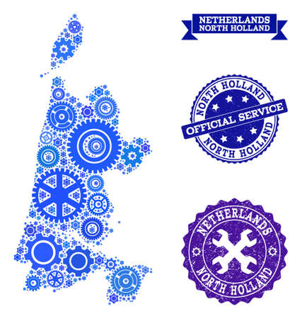 Map of North Holland formed with blue gear symbols, and isolated grunge watermarks for official repair services.