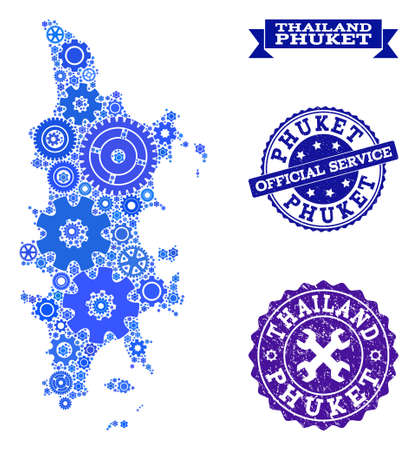 Map of Phuket composed with blue cog symbols, and isolated scratched watermarks for official repair services. Vector abstract mosaic of map of Phuket with job symbols in blue shades.