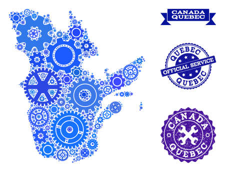 Map of Quebec Province composed with blue gear symbols, and isolated grunge stamps for official repair services.  イラスト・ベクター素材