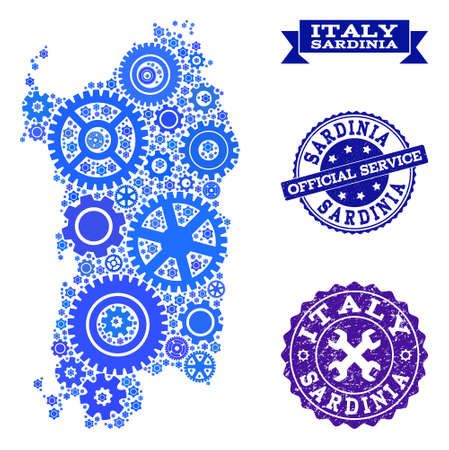 Map of Sardinia region created with blue wheel items, and isolated grunge stamps for official repair services.