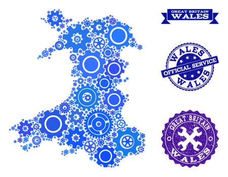 Map of Wales designed with blue gear symbols, and isolated scratched watermarks for official repair services. Vector abstract collage of map of Wales with industry symbols in blue color tinges. Иллюстрация