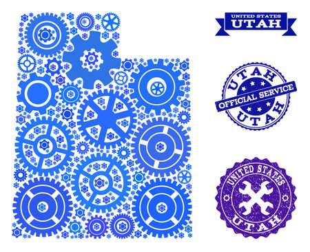Map of Utah State composed with blue wheel symbols, and isolated scratched watermarks for official repair services. Vector abstract mosaic of map of Utah State with work symbols in blue hues. 版權商用圖片 - 125870224