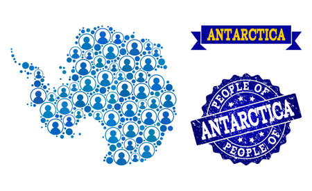 People combination of blue population map of Antarctica and rubber stamp. Vector watermark with unclean rubber texture. Mosaic map of Antarctica constructed with rounded users.