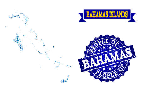 People composition of blue population map of Bahamas Islands and unclean seal stamp. Vector watermark with unclean rubber texture. Mosaic map of Bahamas Islands designed with rounded users.