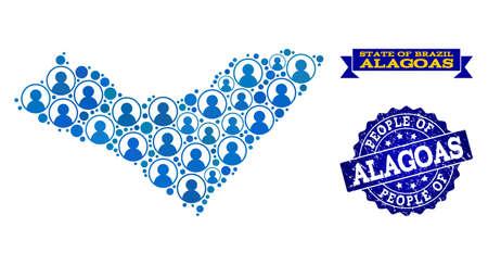 Composition des personnes de la carte bleue de la population de l'État d'Alagoas et du joint en caoutchouc. Sceau vectoriel avec texture en caoutchouc corrodé. Carte en mosaïque de l'État d'Alagoas conçue avec des utilisateurs arrondis. Vecteurs