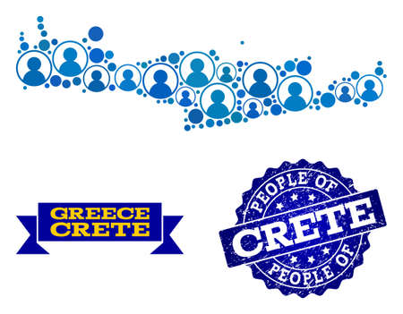People composition of blue population map of Crete Island and rubber stamp. Vector watermark with unclean rubber texture. Mosaic map of Crete Island designed with rounded users.