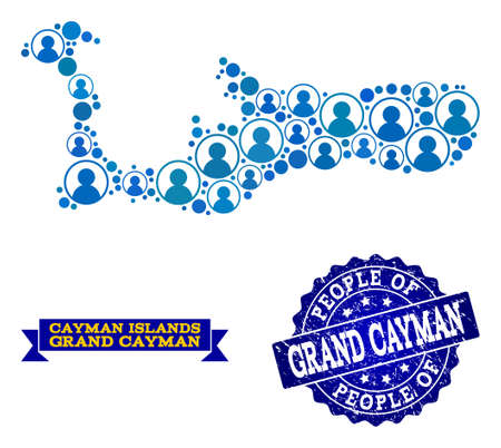 People composition of blue population map of Grand Cayman Island and rubber stamp. Vector watermark with grunge rubber texture. Mosaic map of Grand Cayman Island designed with rounded users. Illustration